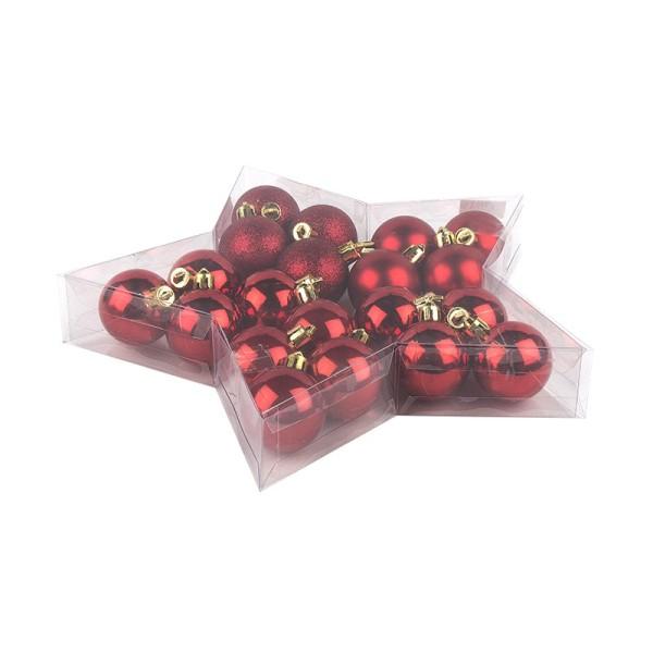 Weihnachtskugeln aus Kunststoff in Sternbox, Ø 4cm, 20 Stück, rot