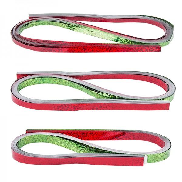 Folienstreifen, 3 Größen (5mm, 7mm, 10mm), 54cm lang, Holografie, rot & grün, 150 Stück