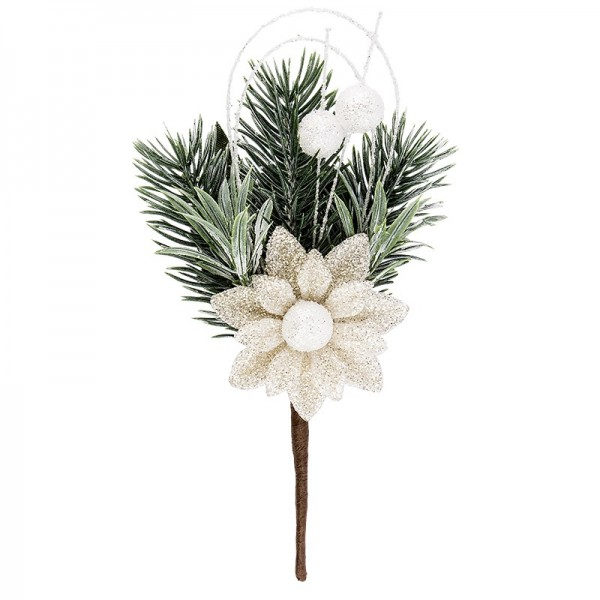 Deko-Tannenzweig, Eisblüte 1, 16cm lang, beschneit