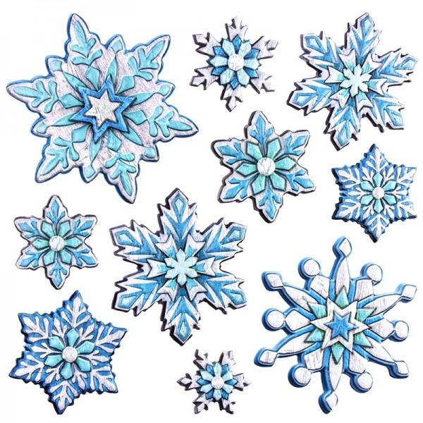 Relief-Sticker in Holzoptik, Eiskristalle, 18cm x 17,5cm