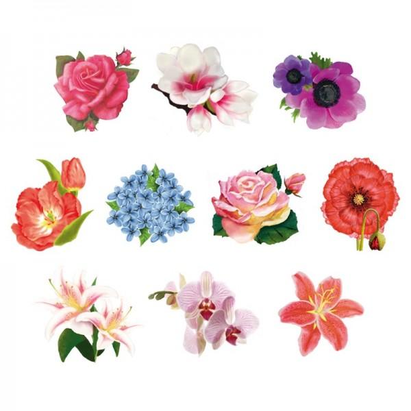 Relief-Bilder, Blüten 1, geprägt, 6-8 cm, 10er Set