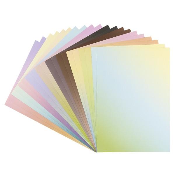 Deko-Karton, Farbverläufe pastell, DIN A4, 10 verschiedene Farbverläufe, selbstklebend , 20 Boge
