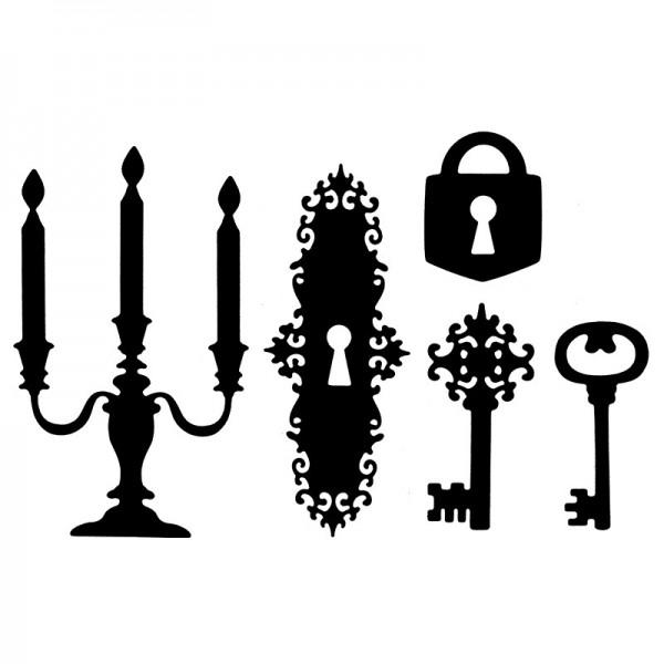 Stanzschablonen, Kerzenleuchter & Schlüssel, 5 Stück