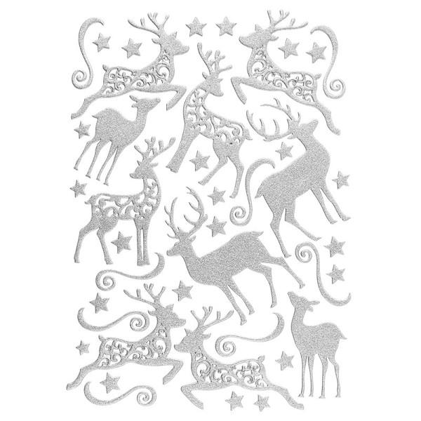 3-D Sticker, Deluxe Hirsche, verschiedene Größen, selbstklebend, silber