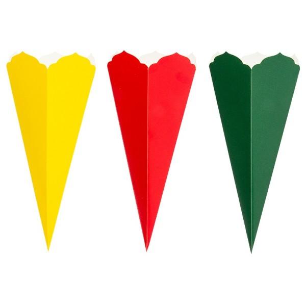 Schultüten, Zierkante, 32cm hoch, Ø 14cm, Deko-Karton, verschiedene Farben, 3 Stück