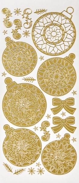 Sticker, Weihnachtskugeln & Schleifen, Perlmuttfolie, gold