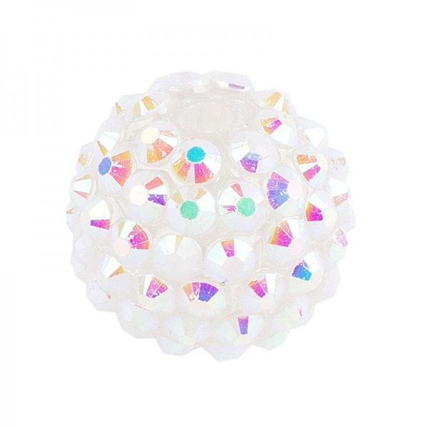 Kristall-Perlen, Ø 10mm, weiß- irisierend, 10 Stück