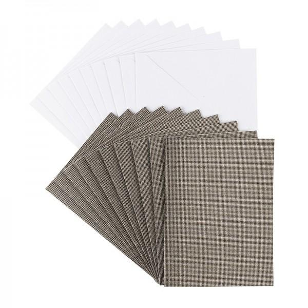 Grußkarten Glitzer-Leinen, C6, taupe, inkl. Umschläge, 10 Stück