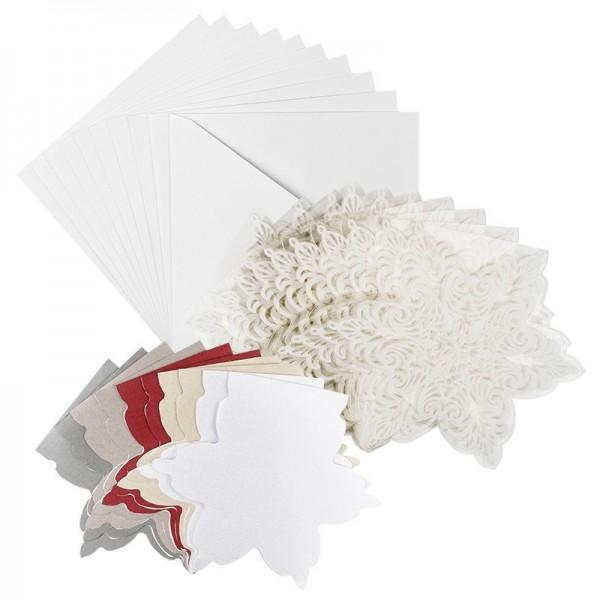 Kristallfolien-Grußkarten, Eiskristall, 13,5 x 16cm, Einleger 5 versch. Farben, Umschläge, 10 Stück