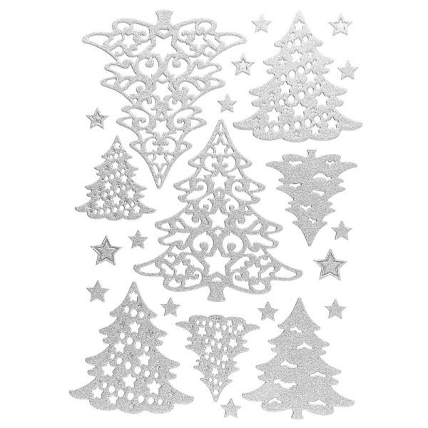 3-D Sticker, Deluxe Tannenbäume, verschiedene Größen, selbstklebend, silber