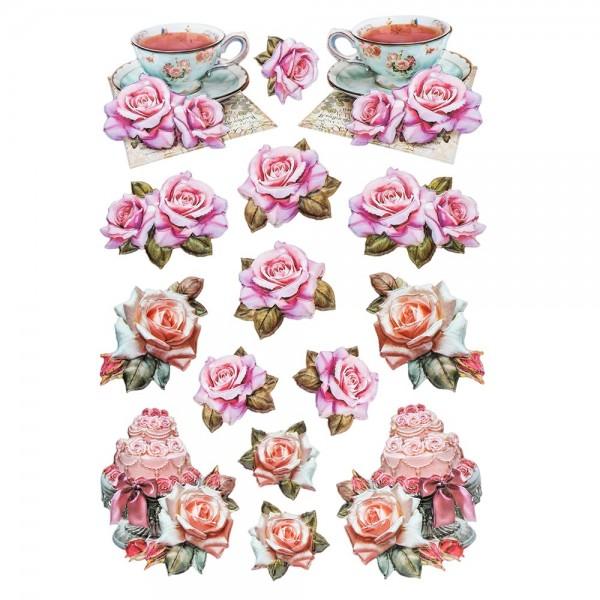 3-D Relief-Sticker, Vintage-Rosengrüße 3, verschiedene Größen, selbstklebend