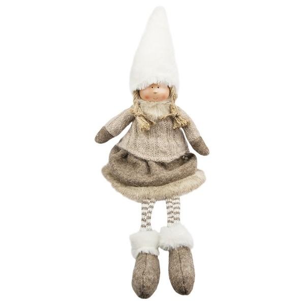 Deko-Puppe, Lisa, sitzend: 32cm hoch, mit Schlenkerbeinen