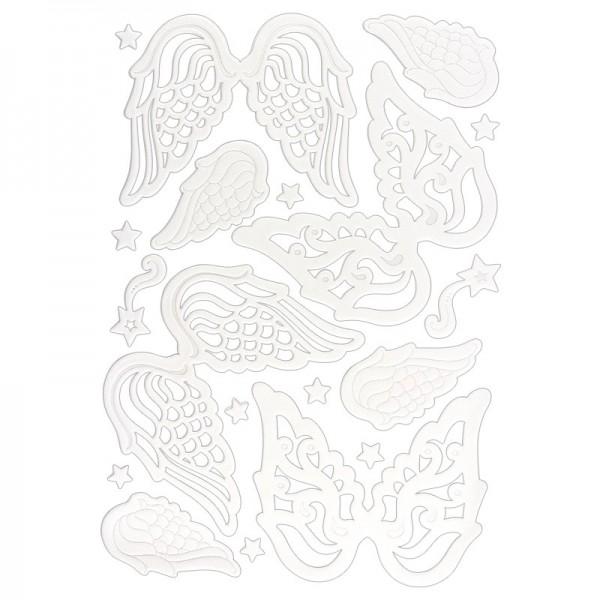 3-D Sticker, Deluxe Engelsflügel, verschiedene Größen, selbstklebend, weiß