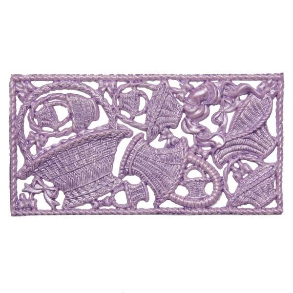 Wachsornament-Platte Körbe, 16 x 8 cm, flieder