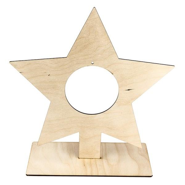 Deko-Stern aus Holz zum Aufstellen, 31cm x 30cm, mit kreisförmiger Aussparung