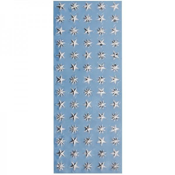 Metallic-Relief-Sticker, Sterne, silber, 12,5 x 30,5 cm
