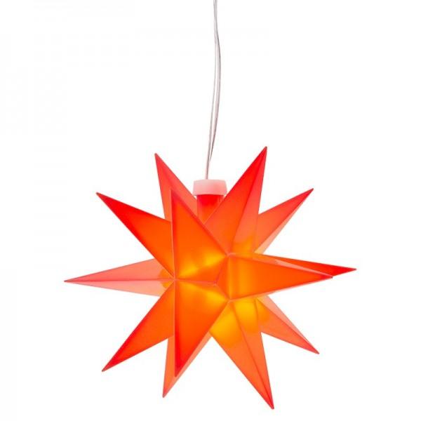 3-D LED-Stern, rot, Ø 12cm, Kabellänge: 1,5m, mit 18 Strahlen, 2 LED-Lichtern in Warmweiß, Timer