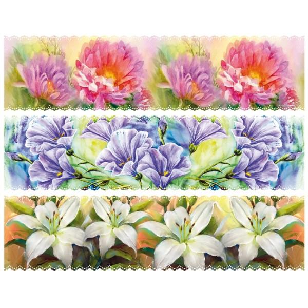 """Zauberfolien """"malerische Blumen"""", Schrumpffolien für Ø10cm, 8,5 cm hoch, 6 Stück"""
