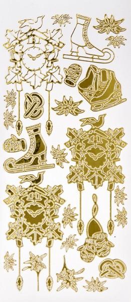 Sticker, Schlittschuhe & Kuckucksuhren, Spiegelfolie, gold