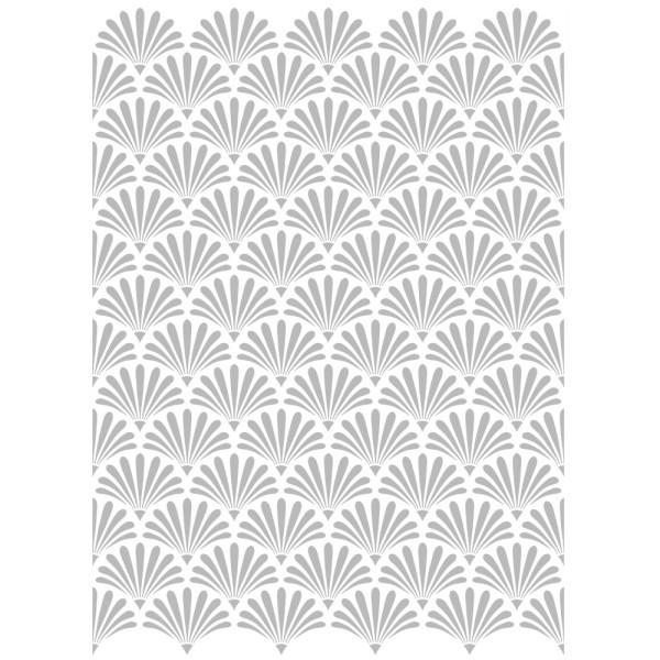 Metallic-Bügeltransfer, Hintergrund, Palmblätter, 25cm x 34cm, silber glänzend