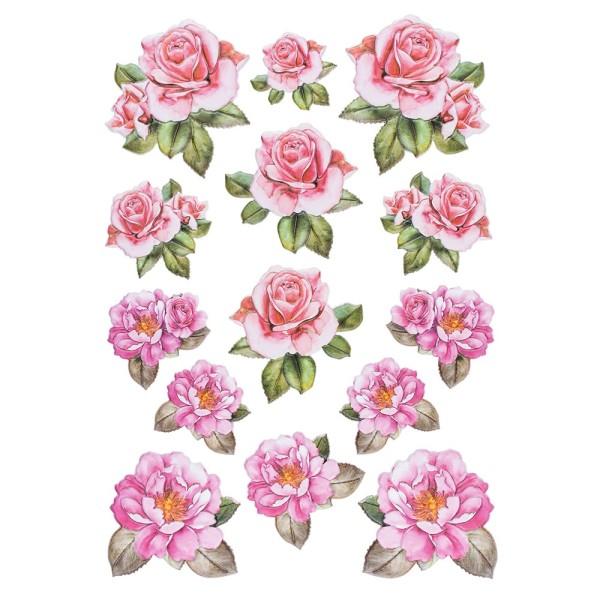 3-D Relief-Sticker, Blumen 2, 21cm x 30cm, verschiedene Größen, selbstklebend