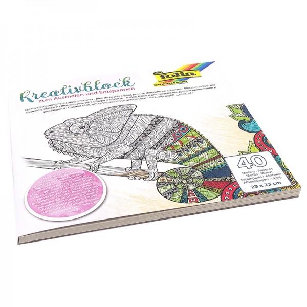 Kreativblock/Malbuch zum Ausmalen & Entspannen, 40 Motive, 23x23cm