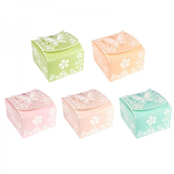 Zier-Faltboxen, Design 4, 10cm x 9cm x 6cm, 5 verschiedene Farben, 10 Stück