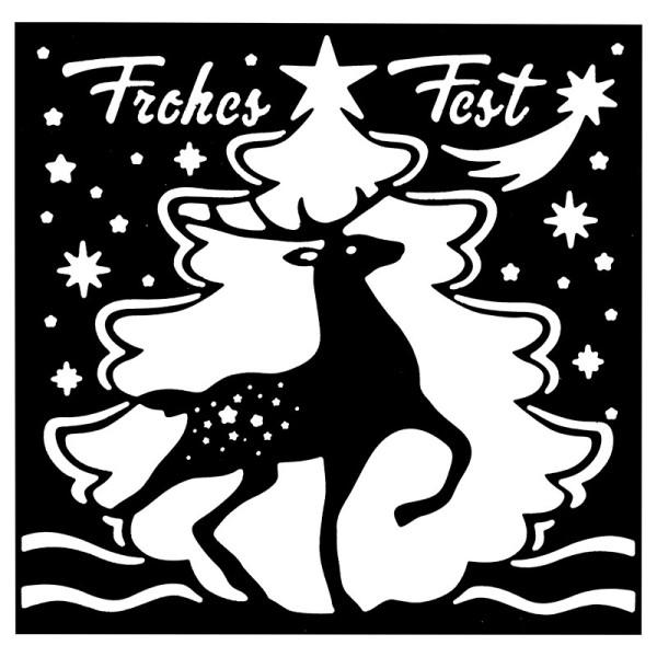 Stanzschablone, Frohes Fest 5, 14cm x 14cm