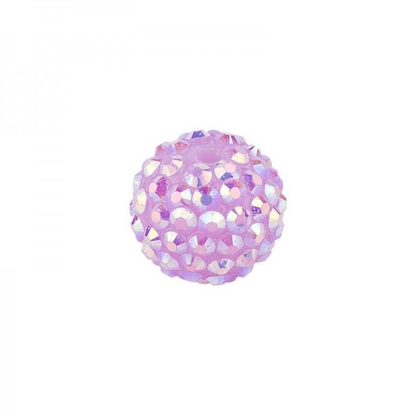 Kristall-Perlen, Ø14 mm, 10 Stück, rosé-irisierend