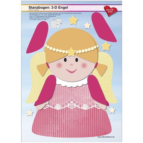 Stanzbogen, 3-D Engel, DIN A4, Design 3, 2er Set