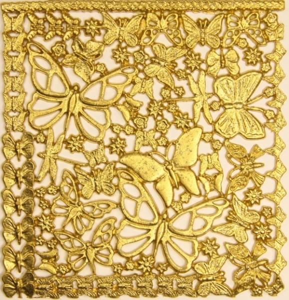 Wachsornament-Platte Schmetterlinge, 16cm x 16cm, gold