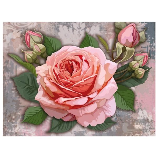 Diamond Painting, Rose mit Knospen 2, 35cm x 25cm, Motivleinwand, runde Steinchen, inkl. Werkzeug