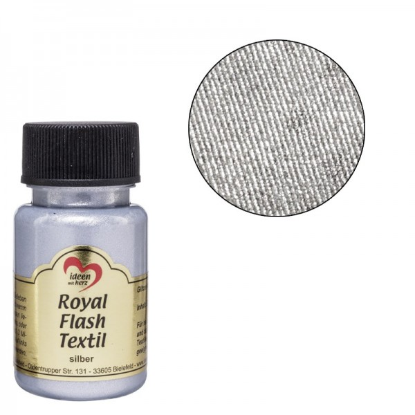 Royal Flash Textil, Glitzer-Metallic-Farbe, 50 ml, silber