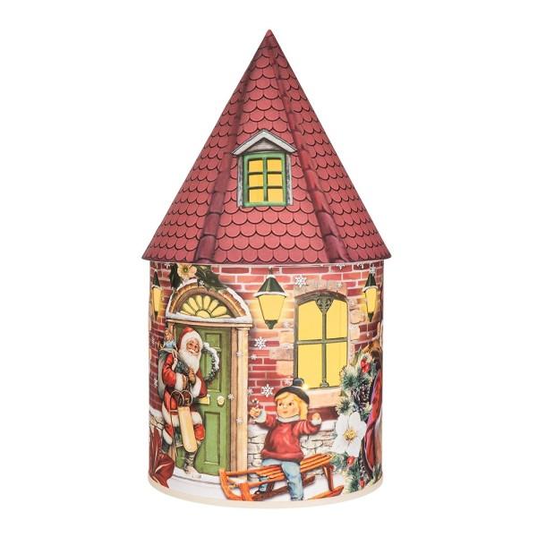 LED-Lichthaus, Nostalgische Weihnacht 6, Ø 11cm, 22cm hoch, inkl. Draht-Lichterkette, mit Timer