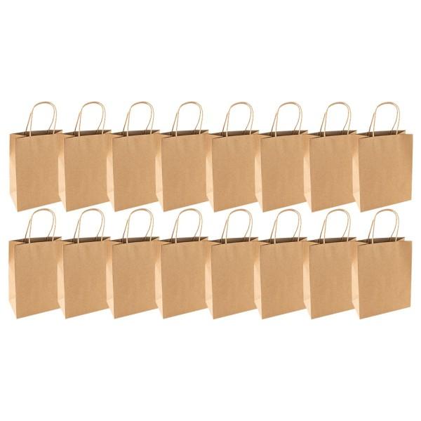 Kraftpapier-Taschen, 18cm x 23cm x 10cm, 170g/m², 16 Stück