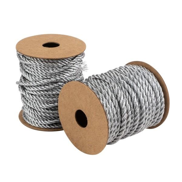 Kordelbänder, verschiedene Stärken & Längen, metallic-silber, 2 Stück