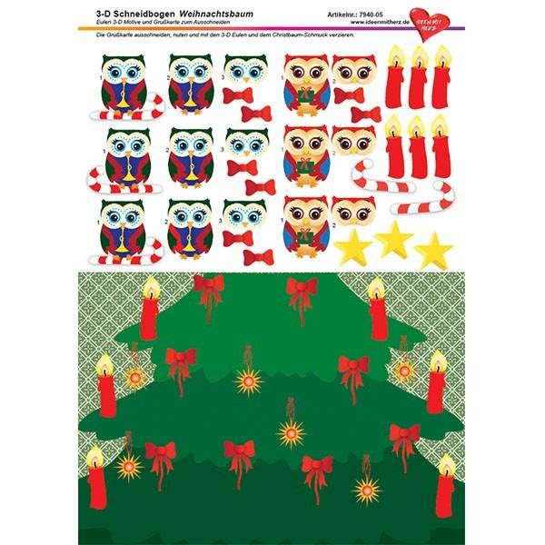 3-D Schneidbogen, DIN A4, Weihnachtsbaum