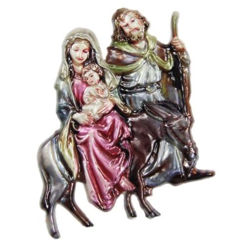 Wachsornament, Heilige Familie 1, farbig, geprägt, 7,5x6,5cm