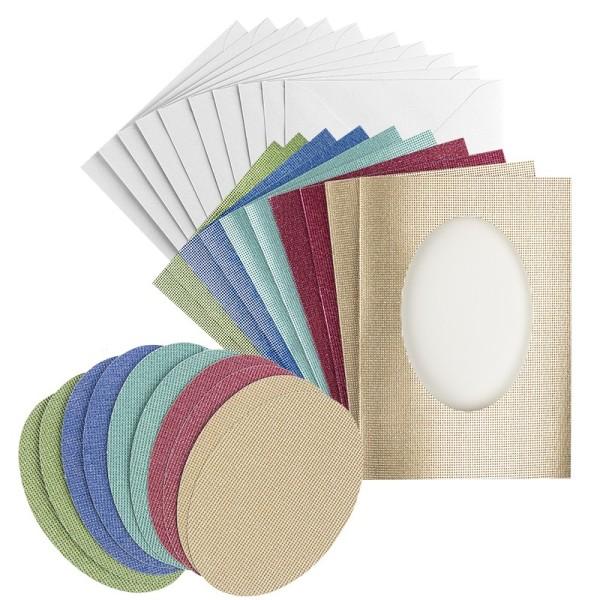 Grußkarten, Glitzer-Leinen, Passepartout oval, B6 ,5 Farben, inkl. Ovale & Umschläge, 10 Stück