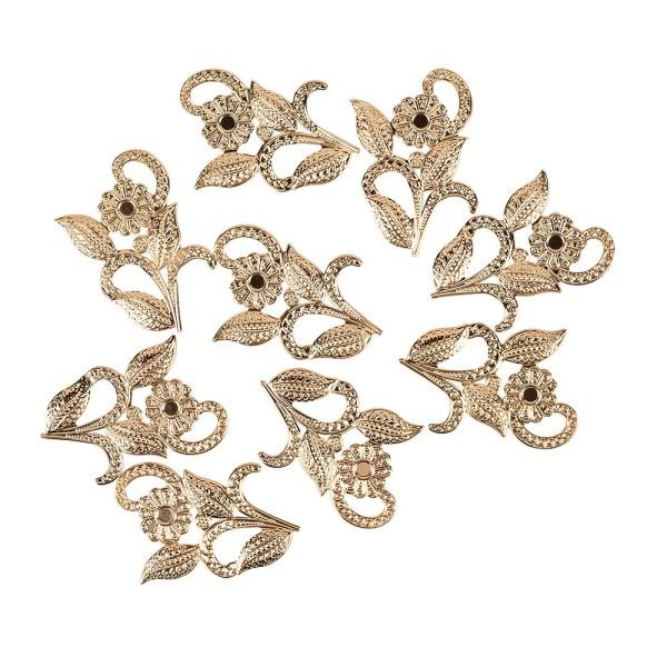 Metall-Ornamente, Design 6, 5cm x 4cm, roségold, 9 Stück