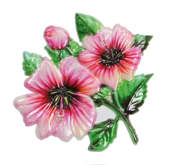 Wachsornament Stockrose, farbig, geprägt, 8 x 8 cm