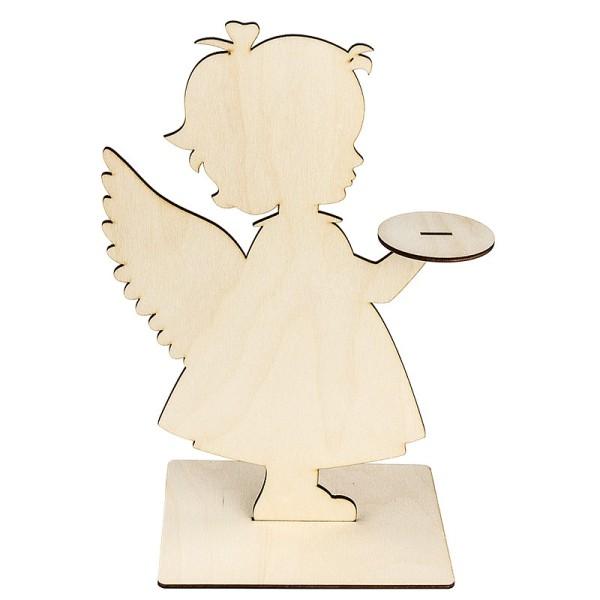 Deko-Engel aus Holz zum Aufstellen, 31cm x 19,2cm, mit Podest