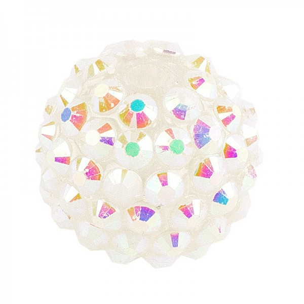 Kristall-Perlen, Ø18 mm, 10 Stück, weiß-irisierend
