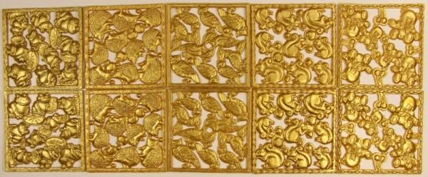 Wachsornament-Platte, Tiermotive, 7 x 7 cm, 10er Set