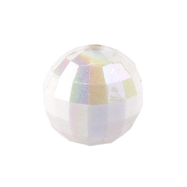 Perlen, facettiert, Ø 10mm, weiß-irisierend, 50 Stück