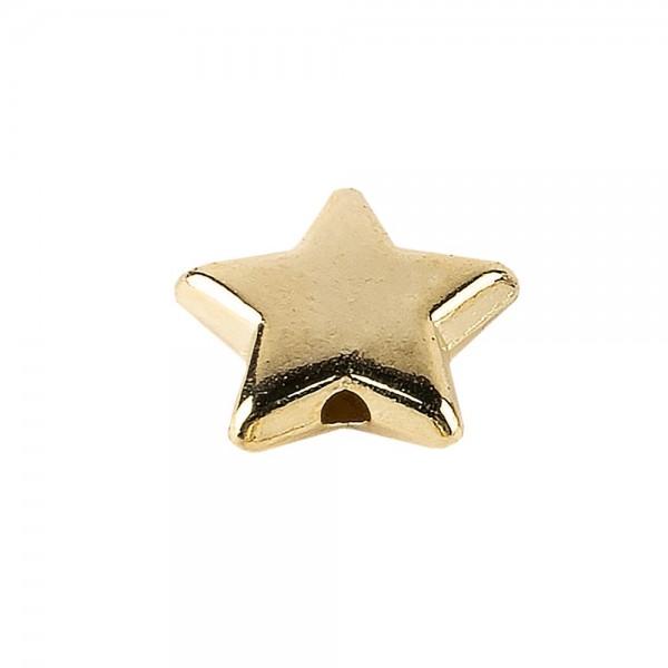 Perlen, Stern 1, flach, 1,4cm x 0,4cm, hellgold, 150 Stück
