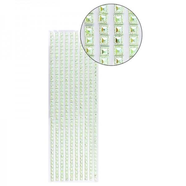 Schmuckstein-Bordüren, selbstklebend, facettiert, irisierend, Quadrate 6 x 6 mm, 29 cm, hellgrün