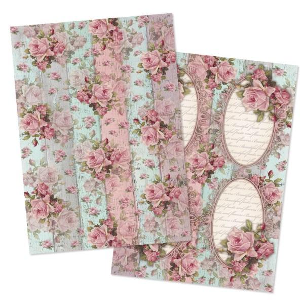 """Reispapiere, Nostalgie """"Blüten 9"""", DIN A4, 2 Designs"""