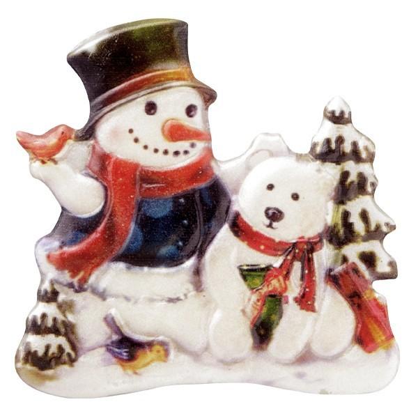 Wachsornament Schneemänner 5, farbig, geprägt, 7cm