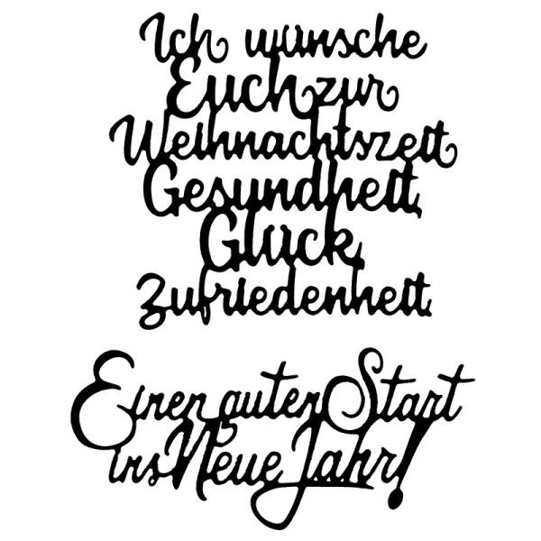 Stanzschablonen, Schriften, Weihnachten & Neujahr, 4,2cm bis 8,2cm, 2 Stück